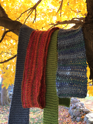 Colorful locally made scarves in our coloful fall foliage