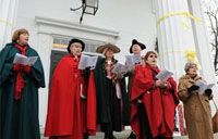 Caroling on Town Hall steps